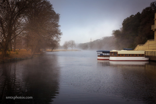 Early Morning at Spring Lake with Glass Bottom Boats in front of the Meadows Center.