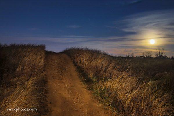 Moonrise in Purgatory Park in San Marcos, TX
