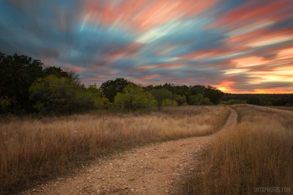 Sunset on Dante's Trail in the Lower Purgatory Natural Area in San Marcos, TX.