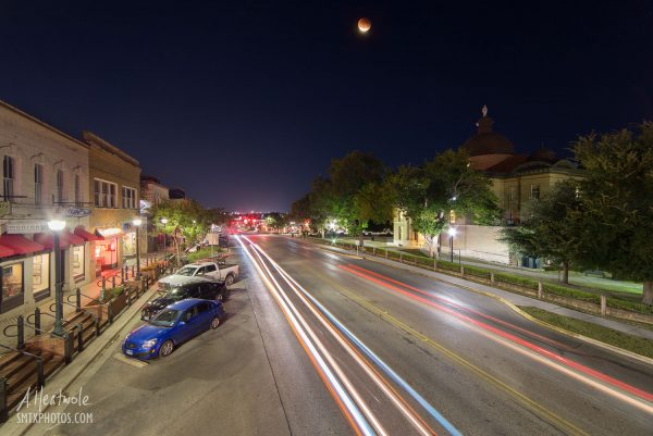 The Blood Moon Eclipse over downtown San Marcos.