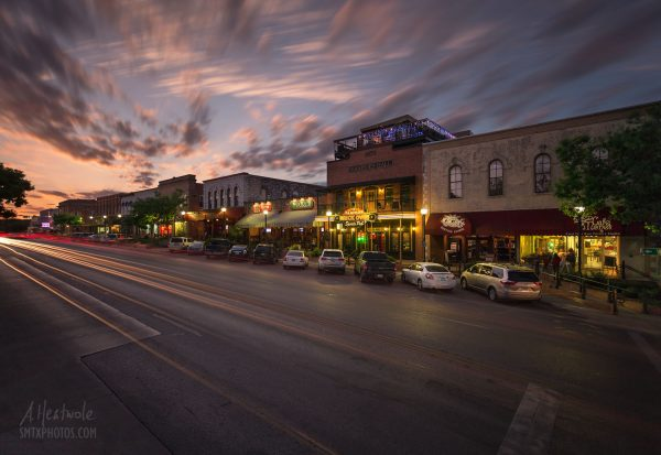 Sunset in downtown San Marcos