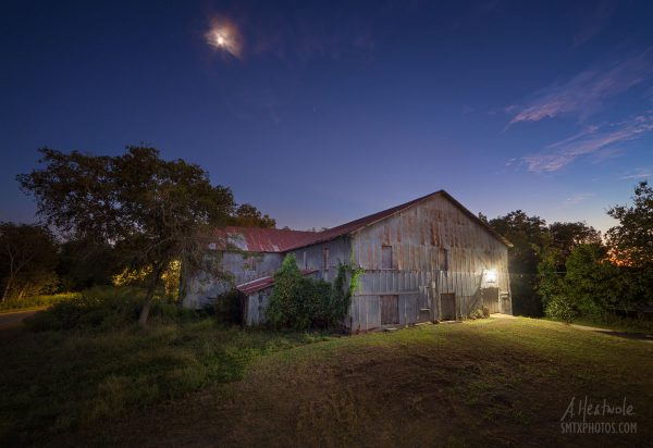 Night at the old San Marcos Milling Company.