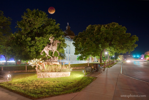Blood Moon Lunar Eclipse Over Downtown San Marcos, TX