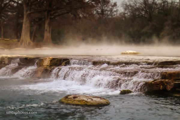 Steam Rises off the San Marcos River at Rio Vista.