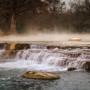 Steam Rises off the San Marcos River at Rio Vista.