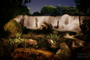 Spring Lake Falls at night in San Marcos, TX
