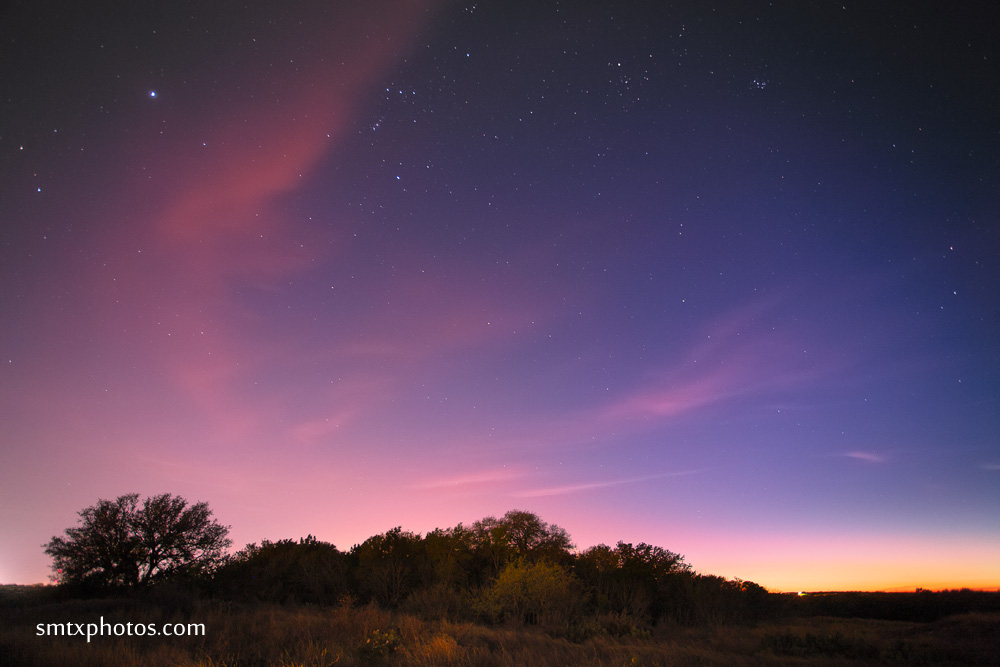 After sunset the stars come out on the Purgatory Trails in San Marcos, TX