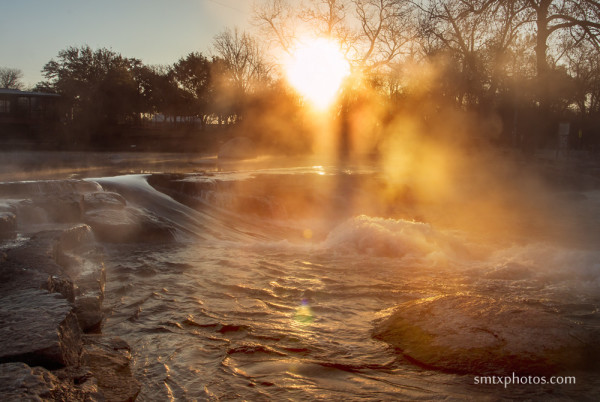 Steamy Sunrise at Rio Vista Park in San Marcos, TX