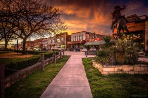 Sunset on The Square in Downtown San Marcos, TX