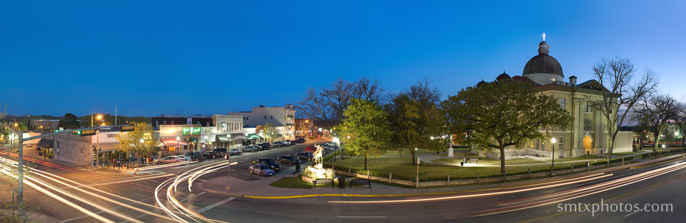 The Square at night in downtown San Marcos, TX