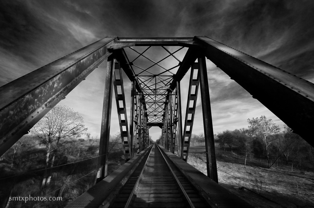 Train trestle over the Blanco River in San Marcos, TX