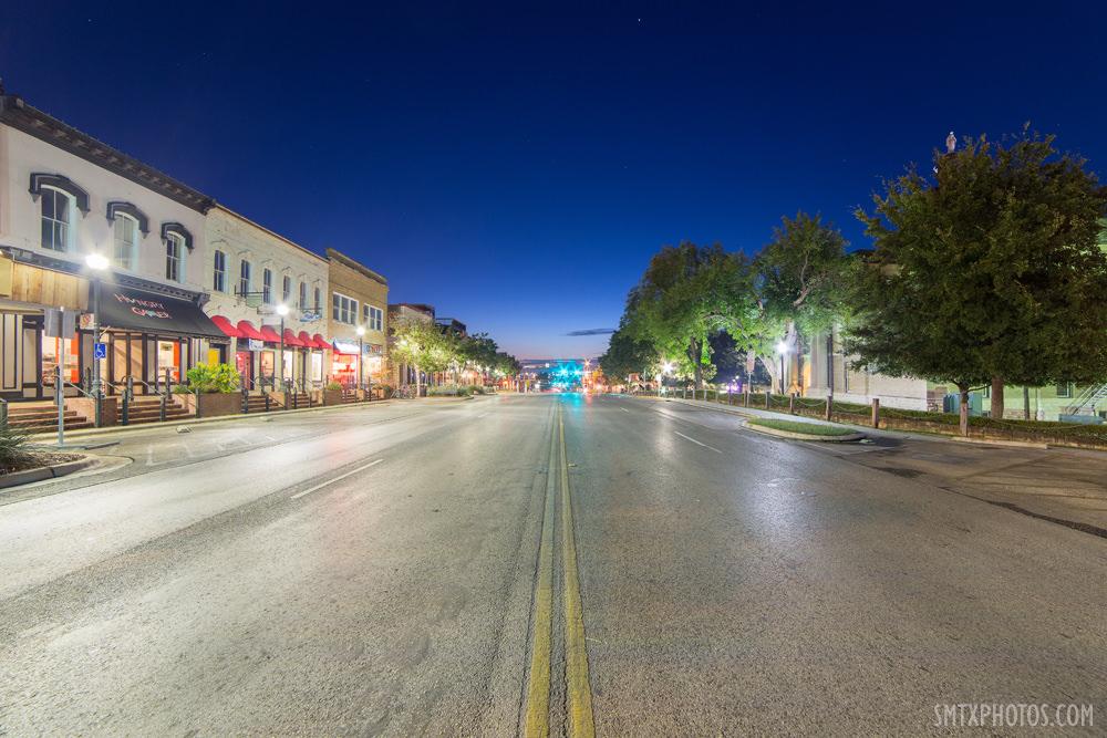 Downtown San Marcos TX at Night