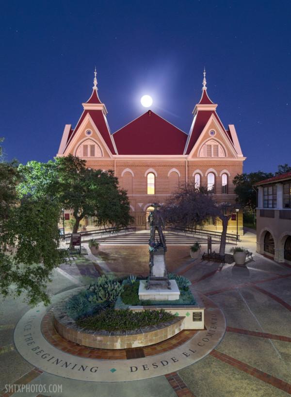 Moonrise at Old Main at Texas State University in San Marcos, TX