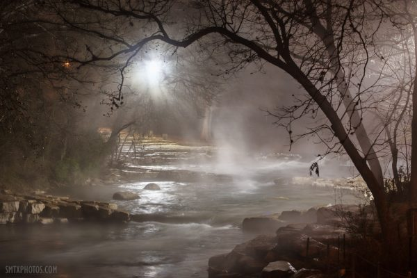 A Foggy night at Rio Vista on the San Marcos River in San Marcos, TX.