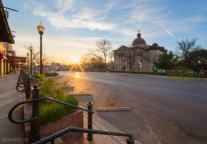 Sunrise on The Square in downtown San Marcos, TX