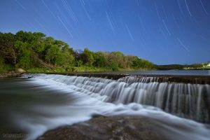 Night on the Blanco River at 5 Mile Dam in San Marcos, TX