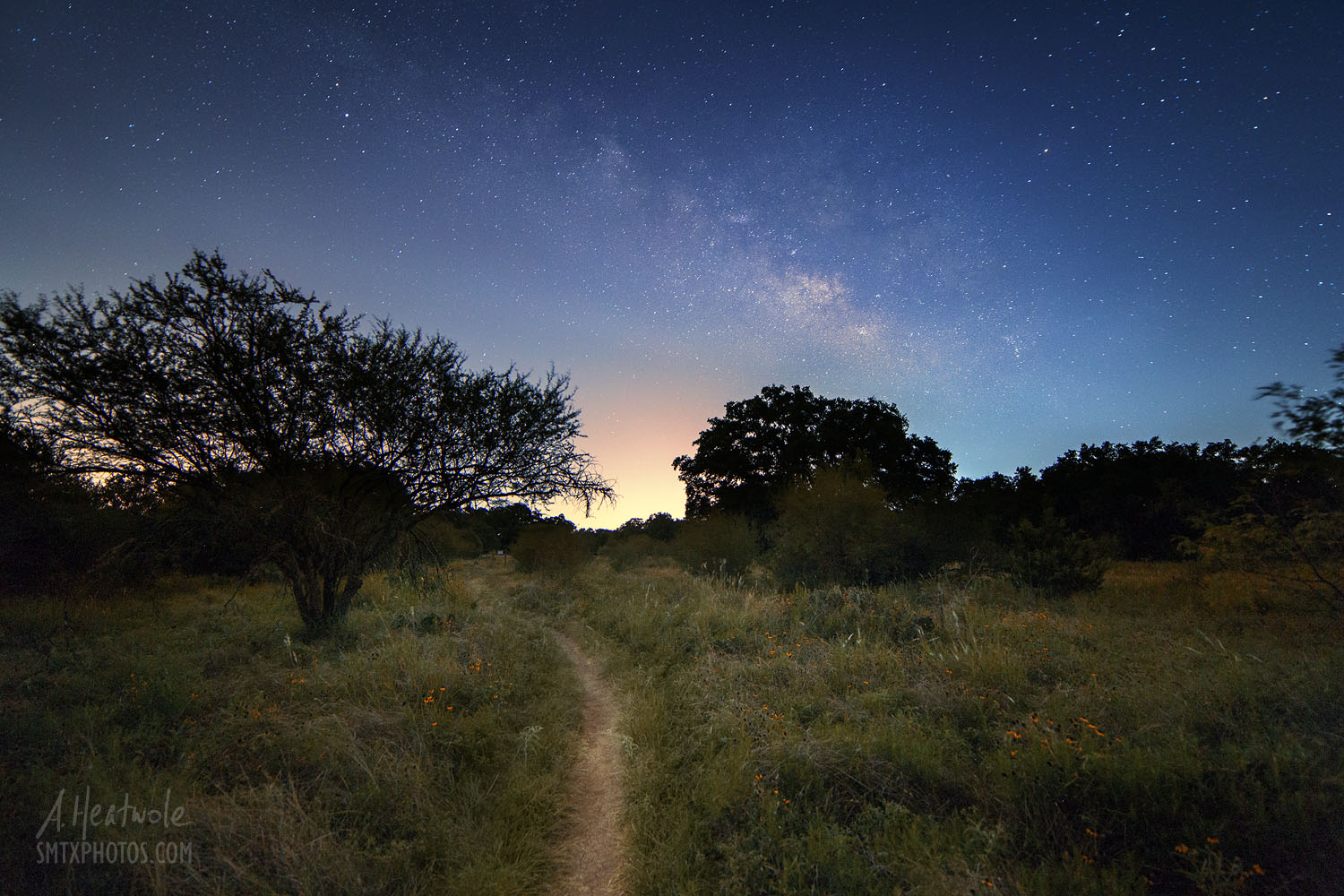 The Milky Way over Purgatory Creek Park in San Marcos, TX