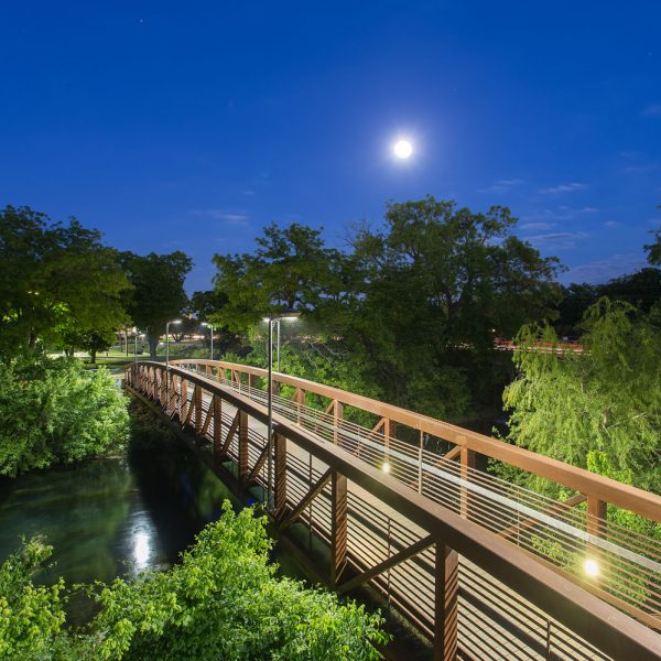 Full moon on the San Marcos River in San Marcos, TX