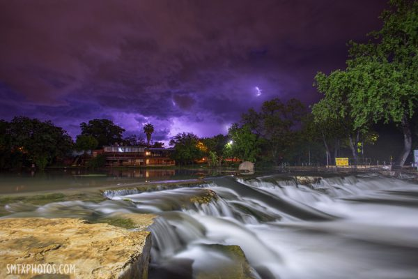 Storms and lightning at Rio Vista in San Marcos, TX