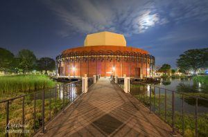 The Texas State University Theatre Center in San Marcos, TX at Night