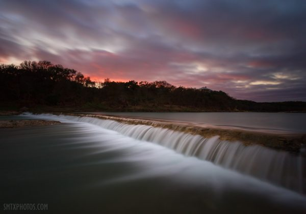 Winter Sunset at 5 Mile Dam in San Marcos, TX