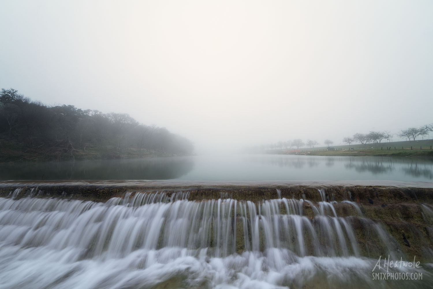 A foggy morning on the Blanco River at 5 Mile Dam in San Marcos, TX
