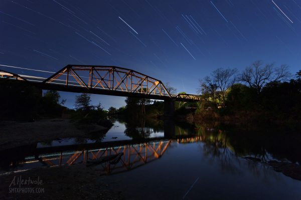 The Blanco River at night in San Marcos, TX