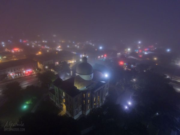 Looking over downtown San Marcos on a foggy morning.