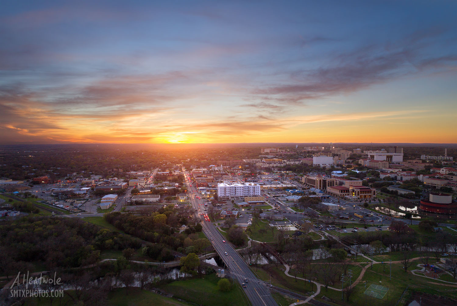 Twice a year, the setting sun lines up perfectly with Hopkins heading into downtown San Marcos.