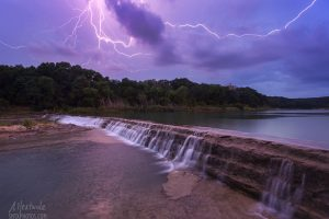 Lightning strike on the Blanco River at 5 Mile Dam.