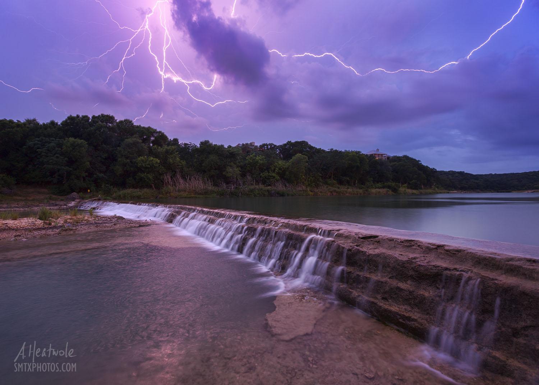 Lightning strike on the Blanco River at 5 Mile Dam.