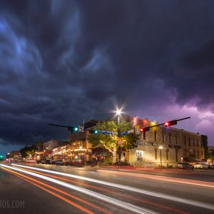 A powerful spring thunderstorm rolls into downtown San Marcos.