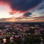 A colorful sunset over the Texas State University Campus.