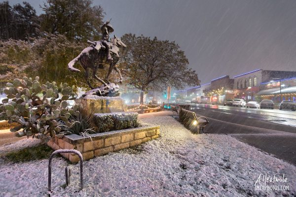 Snow on The Square in Downtown San Marcos, TX