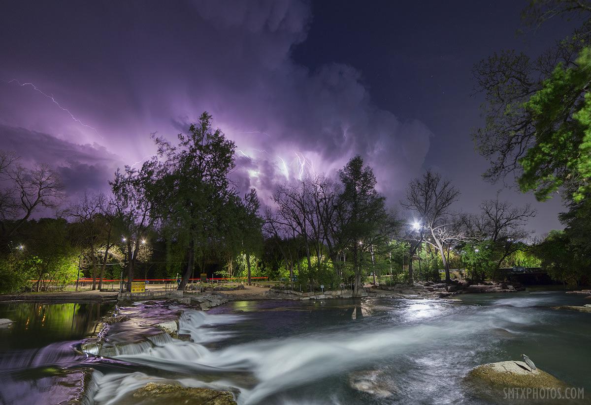 Lightning Storm at Rio Vista Dam in San Marcos, TX