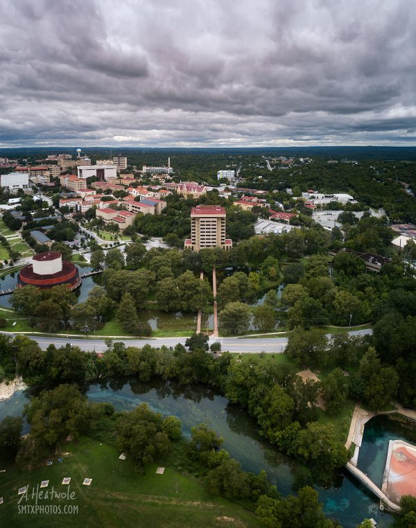 A cool and cloudy day over the San Marcos River and Texas State University.