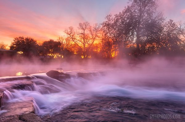 Winter sunrise through the steam on the San Marcos River at Rio Vista