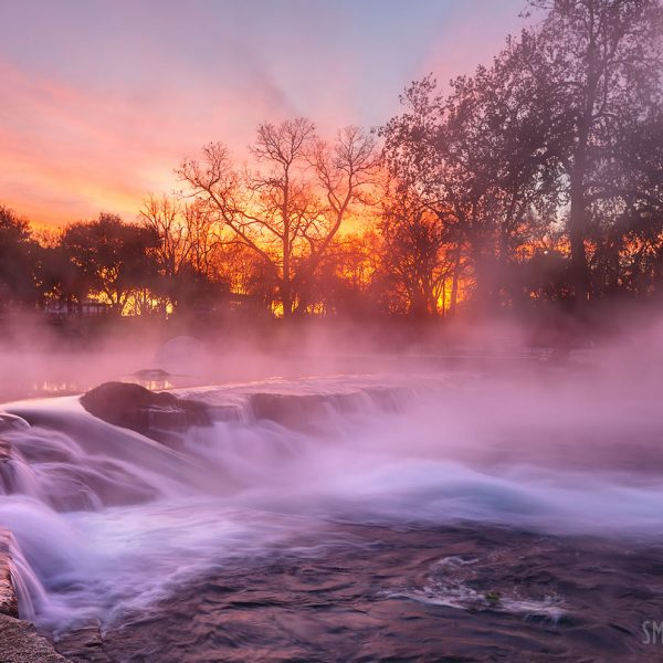 Winter sunrise through the steam on the San Marcos River at Rio Vista