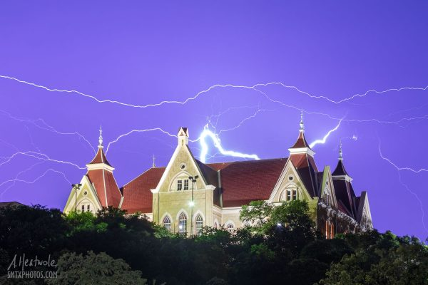 Lightning strike at Old Main