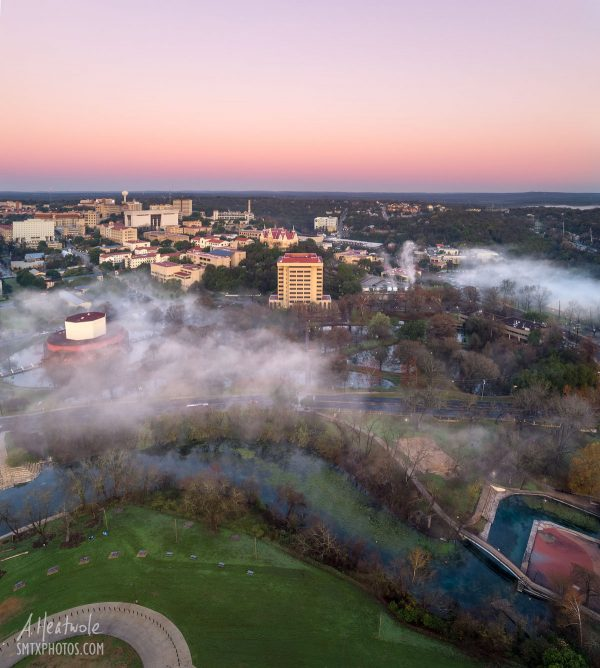 Morning Fog on The Texas State University Campus