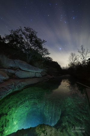 Jacob's Well in Wimberley, TX in December starlight.